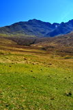 Mountains and meadow. View over Cuillin hills on Isle of Skye Stock Photos