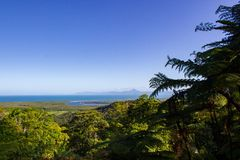 View over Daintree National Park during sunset, Cape Tribulation, Australia. View over Daintree National Park during sunset, Cape Tribulation rainforest royalty free stock photography