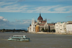 View over the Danube in Budapest. View over the Danube and Parliament in Budapest Royalty Free Stock Photos