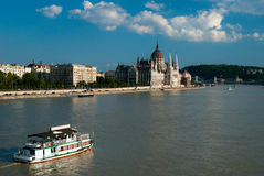 View Over the Danube of Parliament stock image