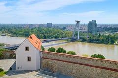 View over Danube river in Bratislava, Slovakia stock photography