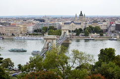 View over the Danube river and the city of Budapest Royalty Free Stock Photo