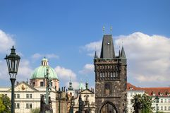 Saint Francis of Assisi church and Charles Bridge in Prague stock images