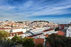 View over downtown Lisbon, Portugal. View of downtown Lisbon from the São Pedro de Alcântara viewpoint Royalty Free Stock Photography