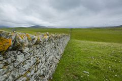 View over a drystone wall in northern scotland Stock Photo