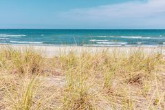 view over the dune of the Baltic Sea in beautiful weather royalty free stock photos