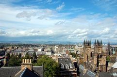 View over Edinburgh in sunny weather, Scotland Royalty Free Stock Image