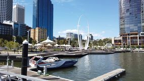 View Over Elizabeth Quay, Perth CBD, Western Australia. View over the Swan River at Elizabeth Quay, Perth CBD, Western Australia, to the 29m high Spanda modern stock footage