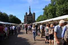 View over the famous book market in the city Deventer is the summer. stock image