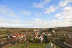 View over a farming village in the country Stock Image
