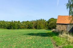View over a field with a old barn at the side, Essen. Germany Royalty Free Stock Photography