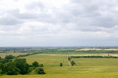 View over fields. View over the flat lands of Lincolnshire taken from a hill in the wolds royalty free stock photos