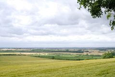 View over fields. View over the flat lands of Lincolnshire taken from a hill in the wolds royalty free stock images