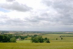 View over fields. View over the flat lands of Lincolnshire taken from a hill in the wolds royalty free stock image