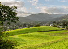 View over fields to Ambleside Lake District Royalty Free Stock Photography