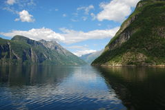 View over the fjord Geiranger in Norway Royalty Free Stock Image