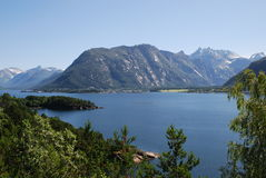 View over the fjord, Isfjord in Norway Stock Photography