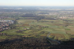 View over a flat landscape from above Stock Image