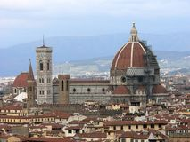 View over Florence. View of the Duomo and Giotto's campanile in Florence royalty free stock photography