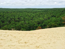View over the forest from the Dune of Pilat in France. View over the forest from the Dune of Pilat. Dune du Pilat, the biggest sand dune in Europe, located in Stock Image