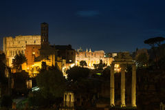 View over the Forum Romanum at night Royalty Free Stock Images
