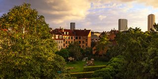 View over Frederiksberg in Denmark. View over a playground just after the rain in the early evening Royalty Free Stock Photos