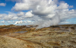 View over geothermal area. Image from the geothermal area at Reykjanes peninsula in Iceland where the largest mud pool in Iceland, Gunnuhver, is located royalty free stock photo
