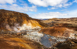 View over geothermal area. View over the geothermal area at Seltun, Krysuvik, a tourists destination which is located at Reykjanes peninsula, Iceland royalty free stock image