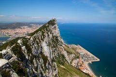 View over the Gibraltar Rock. The Mediterranean Sea and the Spanish city La Linea de la Conception stock image
