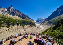 CHAMONIX, FRANCE - AUGUST 8, 2017: View over glacier Mer de Glace from terrace, Chamonix France. View over glacier Mer de Glace from terrace, Chamonix France stock photography