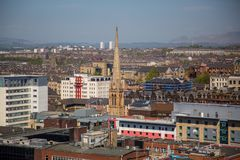 A view over Glasgow City Centre from 17 floors above Bothwell Street. A high level view of Glasgow seen from the roof of the Pinnacle building on Bothwell Street Royalty Free Stock Photos