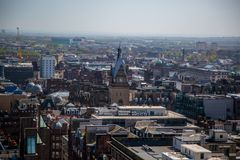 A view over Glasgow City Centre from 17 floors above Bothwell Street looking over Central Station. A high level view of Glasgow seen from the roof of the Royalty Free Stock Image