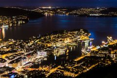 Cityscape with Aerial View of Bergen Center by Night royalty free stock photography