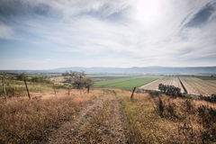 View over Golan Heights landscape Israel. View over Fields and Meadows at Golan Heights Israel Royalty Free Stock Photo