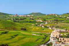 View over Gozo Malta. High angle view over Gozo, Malta, as seen from capital Victoria, looking north Royalty Free Stock Images