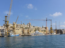 View over the Grand Harbour of Valetta with big yachts Royalty Free Stock Images