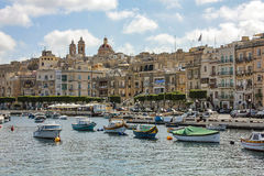 View over the Grand Harbour from Valletta. MALTA, VALLETTA - MARCH 20 2016: View over the Grand Harbour from Valletta, Malta. This a natural harbour and has been Royalty Free Stock Images
