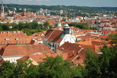 View over Graz, austria. View over Graz, STyria, Austria from Schlossberg royalty free stock photo