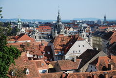 View over Graz, austria. View over Graz, STyria, Austria from Schlossberg royalty free stock photography
