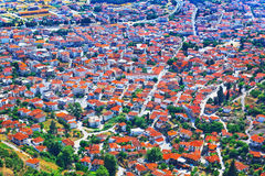 View over Greek town Kalambaka with typical terracotta roofs Royalty Free Stock Images