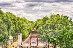 View over Green Park and Buckingham Palace Gardens, London Stock Image