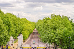 View over Green Park and Buckingham Palace Gardens, London Stock Photo