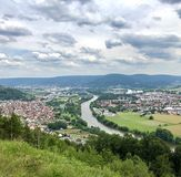 View over Grossheubach near Miltenberg with the Main in the center stock photo
