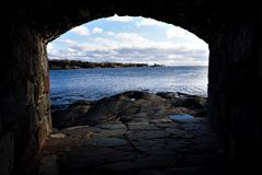 View over the Gulf of Finland from loophole on the island of Suomenlinna. Finland stock images
