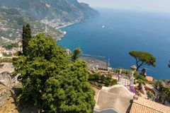 View over Gulf of Salerno from Villa Rufolo, Ravello, Campania. Italy royalty free stock images