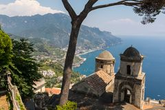 View over Gulf of Salerno from Villa Rufolo, Ravello, Campania. Italy stock images