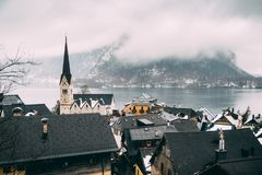 View over Hallstatt and lake Stock Photography