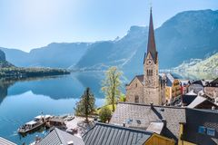 View over Hallstatt, Salzkammergut, Austria Royalty Free Stock Photography