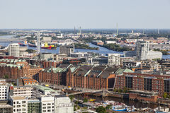 View over Hamburg, Germany to the Speicherstadt Royalty Free Stock Image