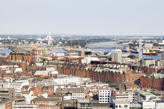 View over Hamburg to the Speicherstadt Stock Image